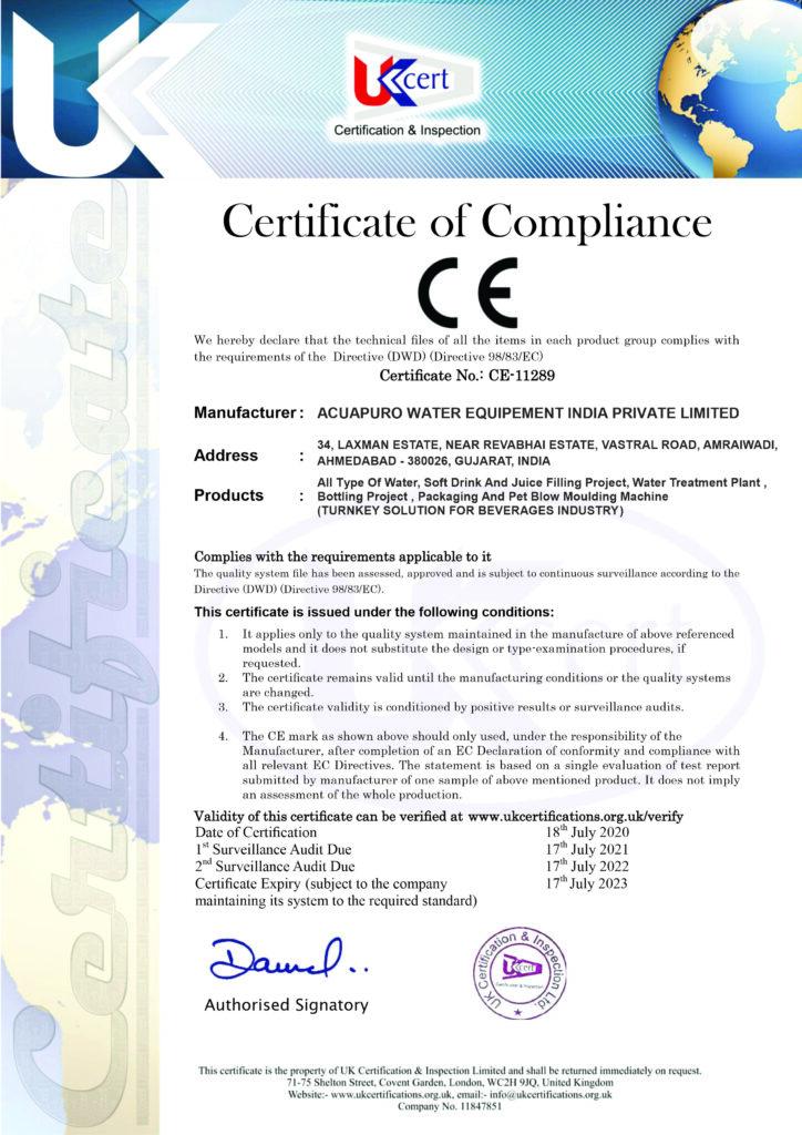 CE Certificate - Acuapuro Water