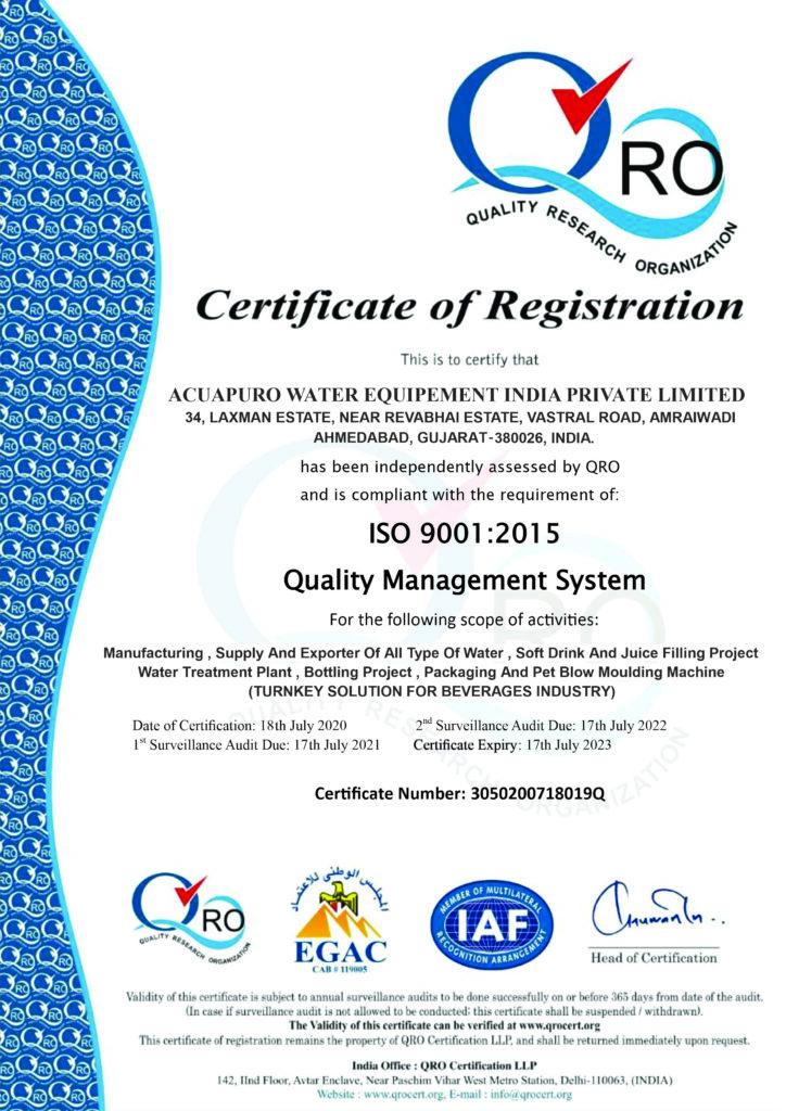 ISO Certificate - Acuapuro Water